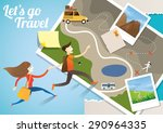 couple run into map  adventure  ... | Shutterstock .eps vector #290964335
