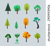 set of different trees cartoons.... | Shutterstock . vector #290993906