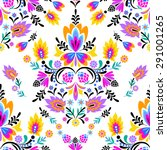 seamless vector folk pattern.... | Shutterstock .eps vector #291001265