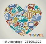 symbols of tourism and travel...   Shutterstock .eps vector #291001322