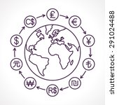 globe with money cycle symbol.... | Shutterstock .eps vector #291024488