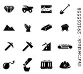 vector black mining icon set on ... | Shutterstock .eps vector #291035558