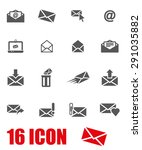 vector gray email icon set | Shutterstock .eps vector #291035882