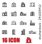vector gray buildings icon set. | Shutterstock .eps vector #291035912