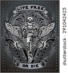 vintage motorcycle label | Shutterstock .eps vector #291042425