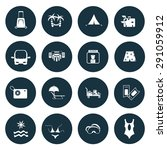 set of 16 travel icon | Shutterstock .eps vector #291059912