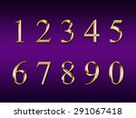 gold numbers on a purple... | Shutterstock . vector #291067418