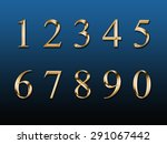 gold numbers on a blue... | Shutterstock . vector #291067442