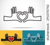 hands in the form of heart ... | Shutterstock .eps vector #291070742
