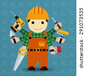 builder with many arms.... | Shutterstock . vector #291073535