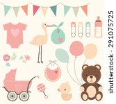 baby shower set | Shutterstock .eps vector #291075725