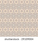 Cells floral pattern in brown-black-white colors - stock vector