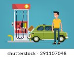 confident gas station customer... | Shutterstock .eps vector #291107048