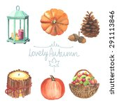 set of watercolor cute autumn... | Shutterstock .eps vector #291113846