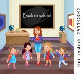 teacher and school kids. | Shutterstock .eps vector #291140042