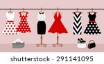 Woman wardrobe accessories set. collection of different red, black and white dresses on hanger and mannequin, lady purse, high heel shoes. fashion boutique. vector illustration, isolated on background
