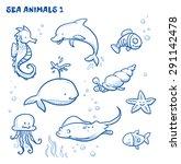 Cute Cartoon Sea Water Animals. ...