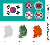 flag of south korea and map in... | Shutterstock .eps vector #291144026