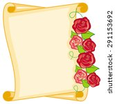 paper scroll with red roses    Shutterstock .eps vector #291153692