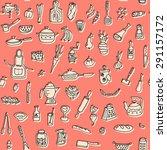 kitchen stuff doodle seamless... | Shutterstock . vector #291157172