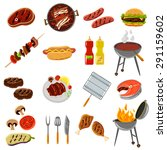 barbecue and grill icons set... | Shutterstock .eps vector #291159602