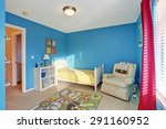 cute kids room with blue walls... | Shutterstock . vector #291160952
