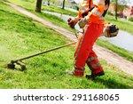 lawn mower worker man cutting... | Shutterstock . vector #291168065