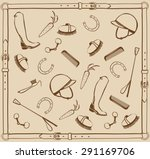 horse riding tack. equestrian... | Shutterstock .eps vector #291169706
