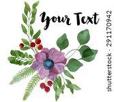 watercolor floral composition... | Shutterstock . vector #291170942