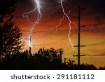 Silhouette Of Power Lines Being ...