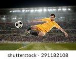soccer player kicking the ball... | Shutterstock . vector #291182108
