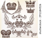 vector crowns set in vintage... | Shutterstock .eps vector #291184526
