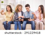 group of friends using their... | Shutterstock . vector #291229418