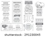 restaurant cafe menu  template... | Shutterstock .eps vector #291230045