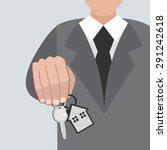 hand holding house keys  ... | Shutterstock .eps vector #291242618