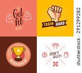 vector set of sport  fitness... | Shutterstock .eps vector #291299282