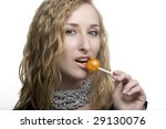 beautiful blonde with a bright ... | Shutterstock . vector #29130076