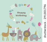birthday card with africa... | Shutterstock .eps vector #291301796