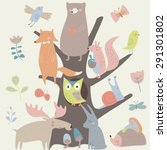 Set Of Forest Animals In...