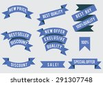 set of flat colored ribbons.... | Shutterstock .eps vector #291307748
