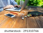 textured wooden desk and... | Shutterstock . vector #291310766