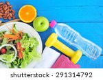 fresh salad  fruits with sport... | Shutterstock . vector #291314792