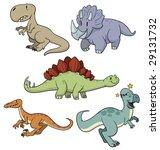five cute cartoon dinosaurs all ... | Shutterstock .eps vector #29131732