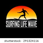 silhouettes of surfer. vector | Shutterstock .eps vector #291324116