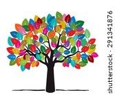 Tree With Color Leafs. Vector...