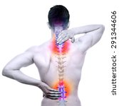 Small photo of Spine Pain - Male Hurt Backbone isolated on white - Real Anatomy concept