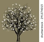 tree silhouette with white... | Shutterstock .eps vector #291374015