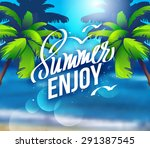 summer enjoy and travel. summer ... | Shutterstock .eps vector #291387545