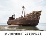 Ship Wreck Surrounded By Sea...