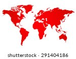 red world map illustration | Shutterstock .eps vector #291404186